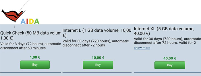 Aida cruises cruise ship crew internet prices screenshot