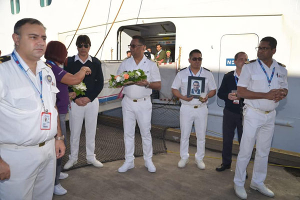 Funeral ceremony on cruise ship Carnival Freedom