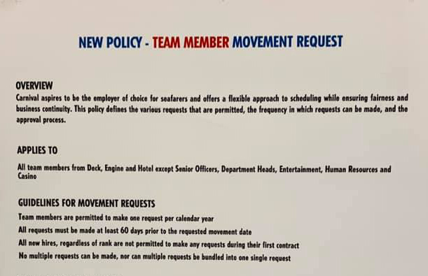 Carnival Cruise Line New Policy for Team Member Movement