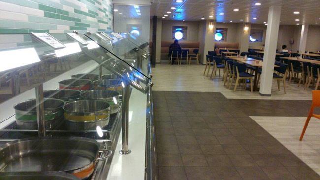 crew mess line on Celebrity cruise ship