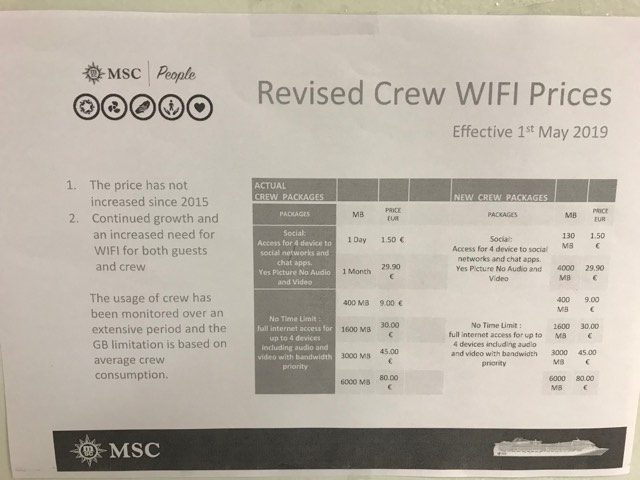 MSC cruises list internet prices for crew