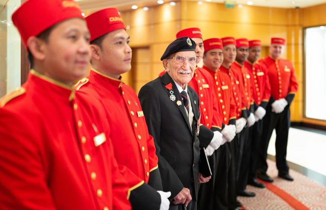 Cunard welcomes back the oldest living crew member to