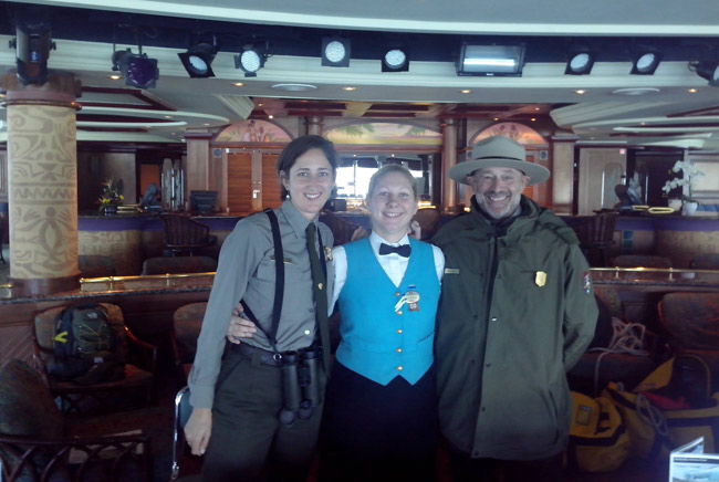 Glacier Bay Rangers with cruise ship crew member
