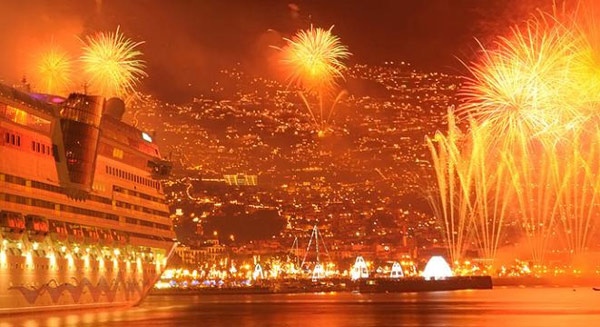 Madeira New Year's Eve fireworks from a cruise ship
