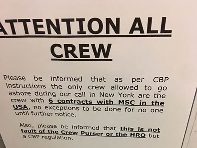 attention announcement on cruise ship