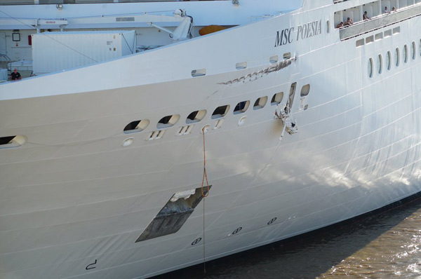 msc poesia collision damage in buenos aires port