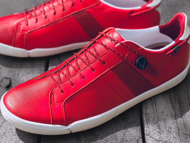 shoes for Virgin Voyages crew red PLAE sneakers
