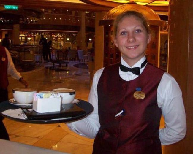 cruise ship crew member bar uniform