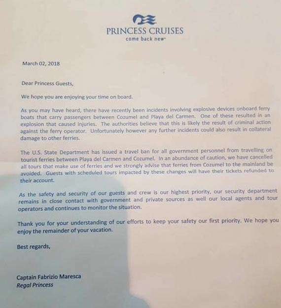 princess cruises letter cozumel shore ex