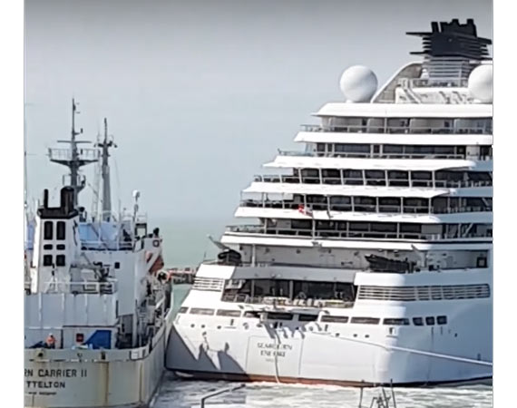 Video Seabourn Encore Collides With A Vessel In New Zealand - Cruise ship damaged