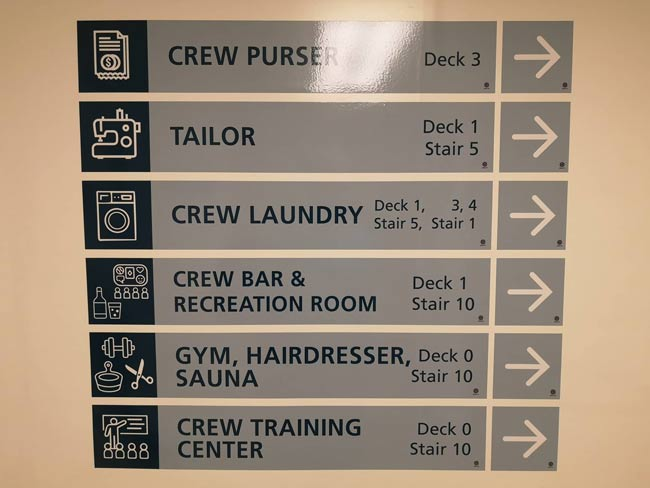 cruise ship crew sign directions