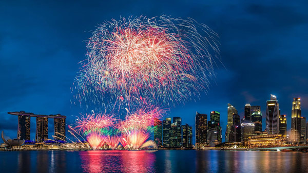 Marina Bay Singapore fireworks from a cruise ship