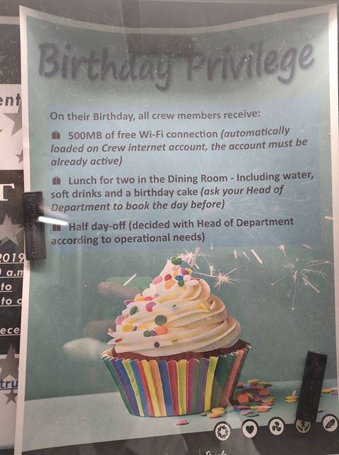 Crew Birthday Privileges and other activities on MSC ...